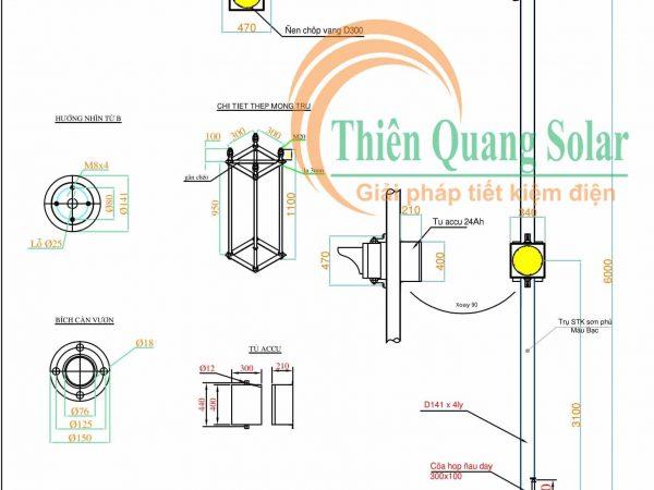 Đèn tín hiệu giao thông năng lượng mặt trời TQS-D300 đèn đôi
